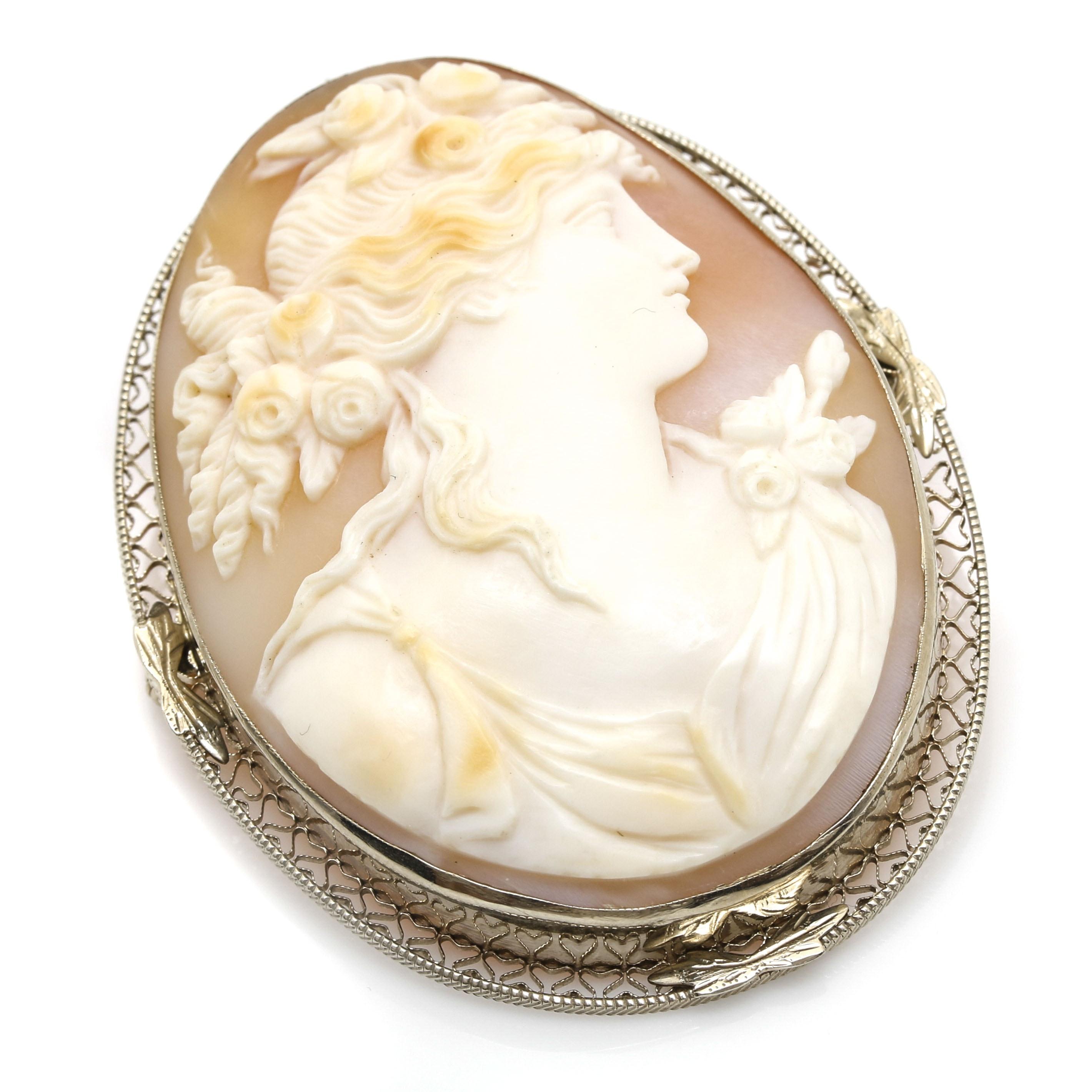 14K White Gold Shell Cameo Pendant Brooch