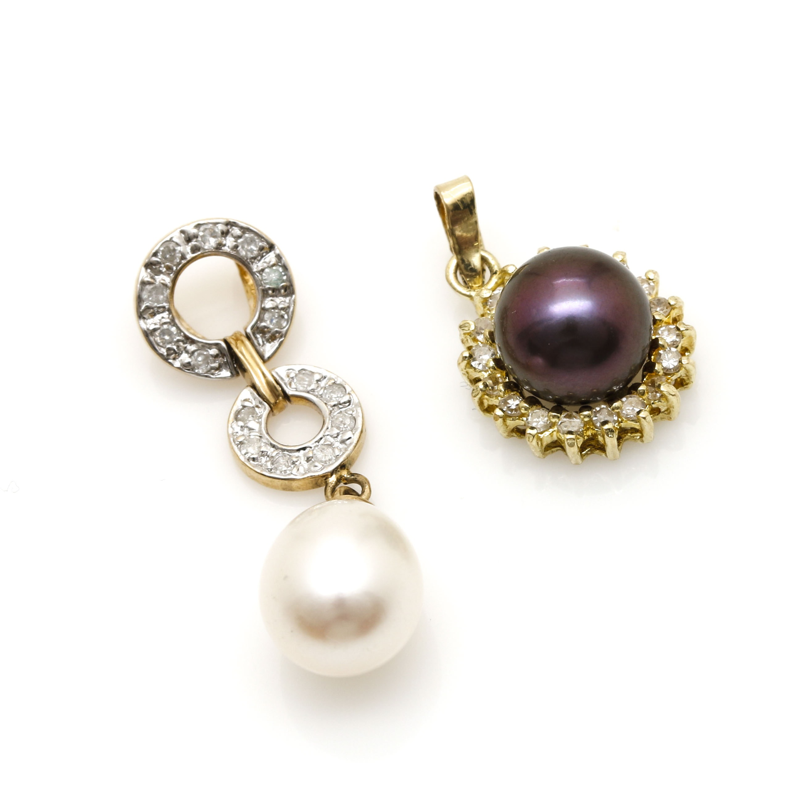 14K Yellow Gold Cultured Pearl and Diamond Pendants
