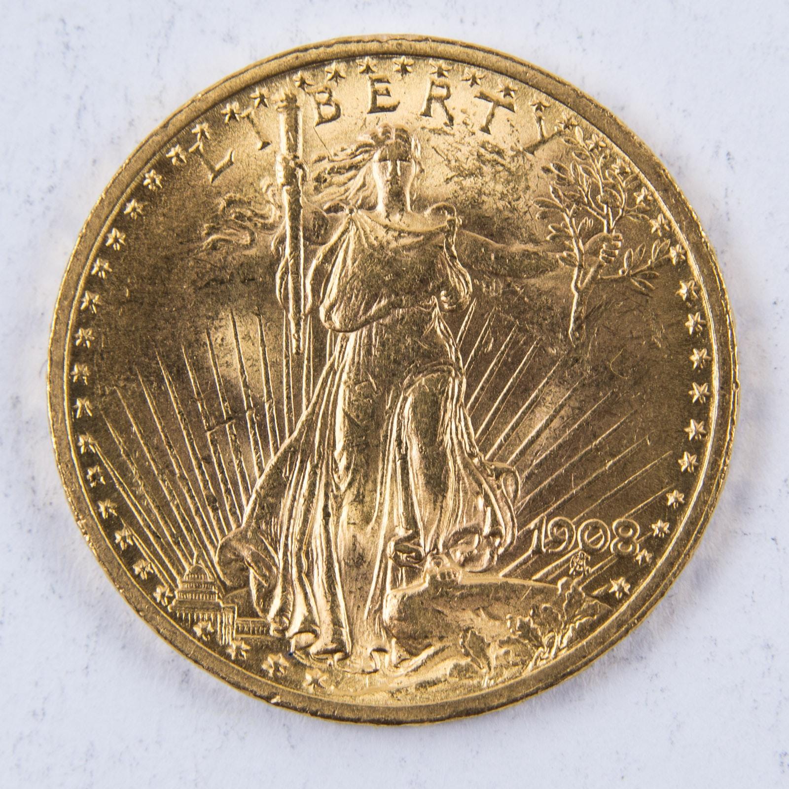 1908 St. Gaudens No Motto Twenty Dollar Gold Coin