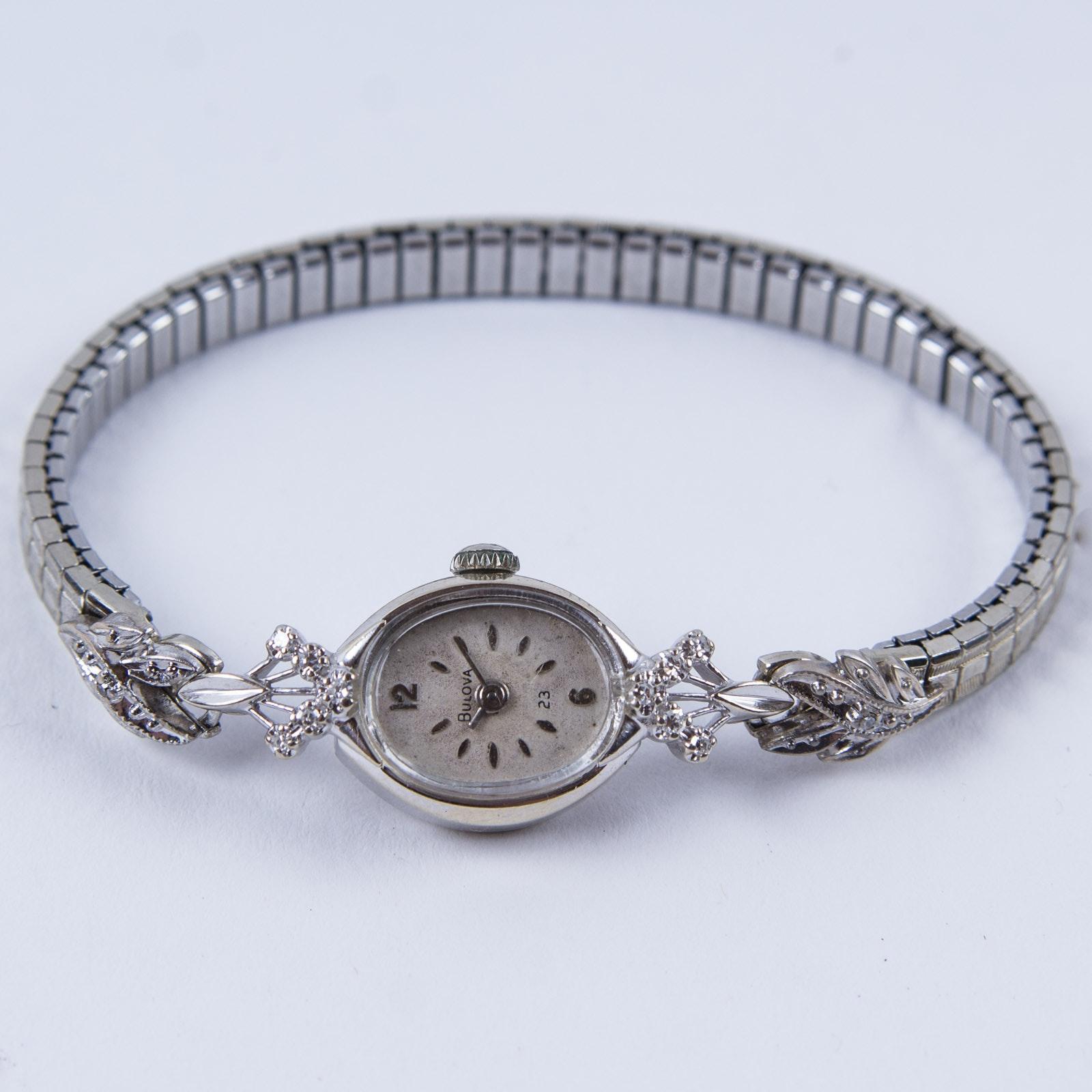 14K White Gold and Diamond Bulova Wristwatch