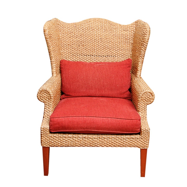 Woven Wingback Armchair by Century