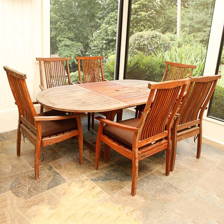 teak patio dining set by rock wood ebth
