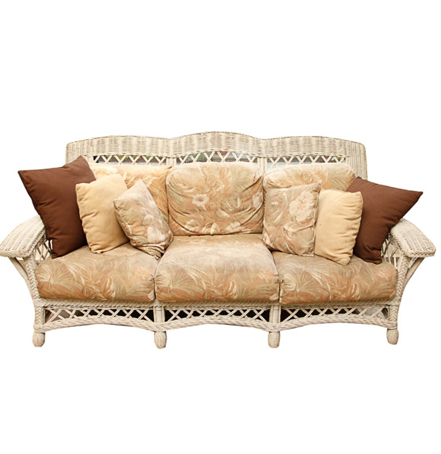 Wicker Sofa With Floral Cushions Ebth