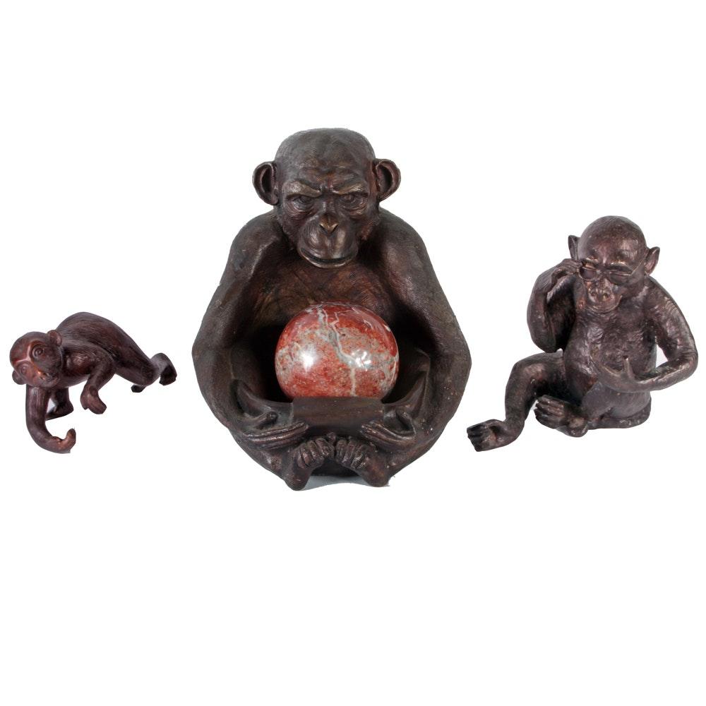 Collection of Bronze Monkey Figures