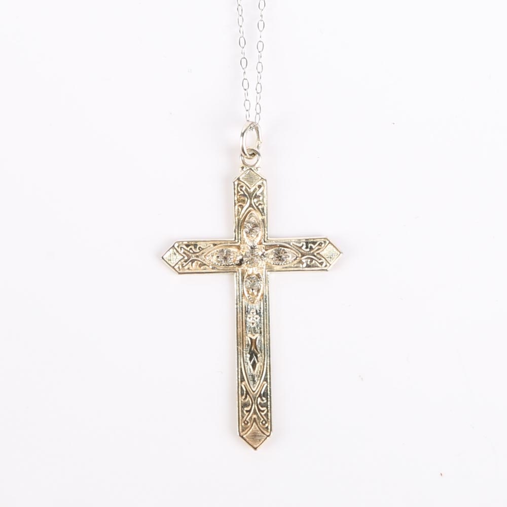 Sterling Silver Cross and 14K White Gold Chain