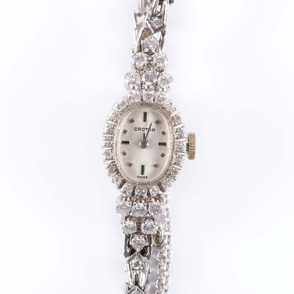 Croton 14K White Gold and Diamond Wristwatch