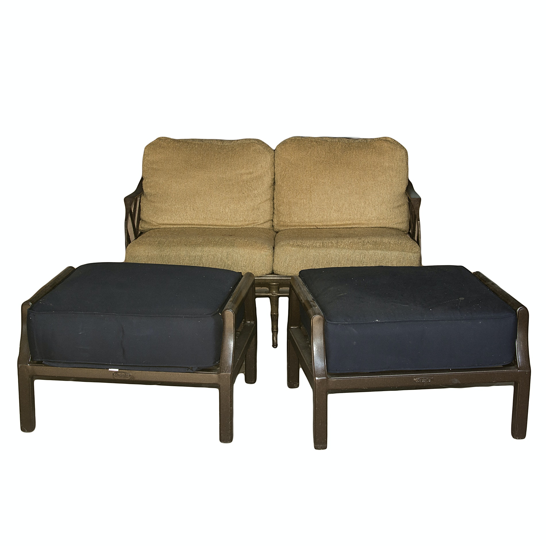 Brown Jordan Patio Loveseat and Castelle Ottomans