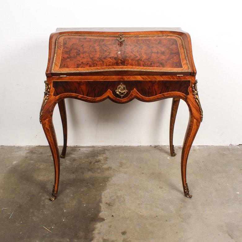 Vintage Louis XV-Style Burl Wood Secretary