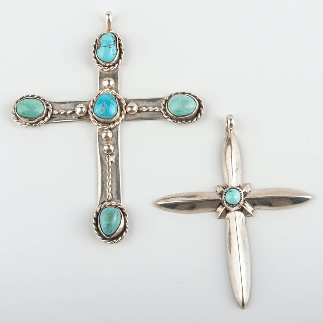 Sterling Silver and Coin Silver Turquoise Cross Pendants