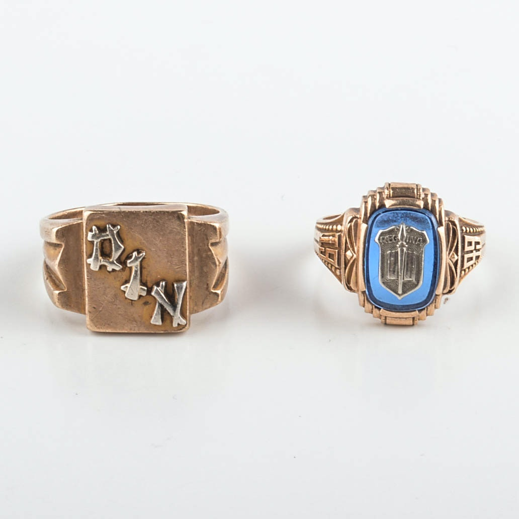 Two Vintage 10K Yellow Gold Rings