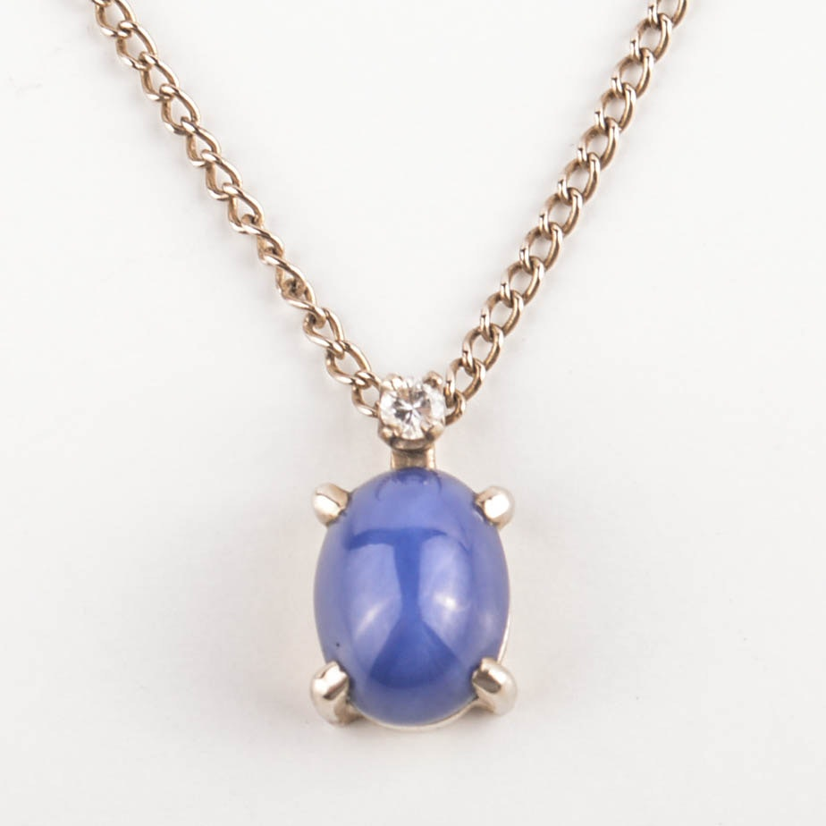14K Yellow Gold Diamond and Synthetic Star Sapphire Pendant