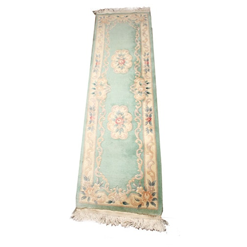 Hand-Knotted Carved Savonnerie-Style Carpet Runner