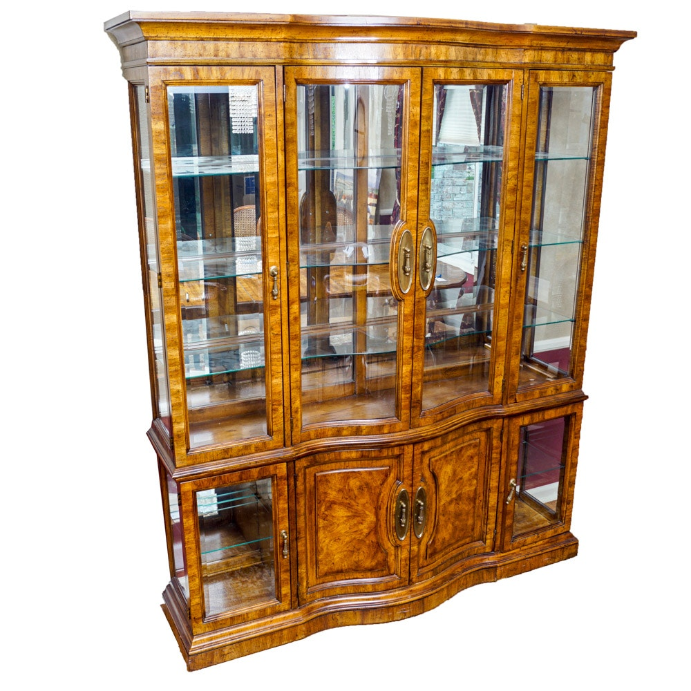 Wood and Glass Lighted Display Cabinet