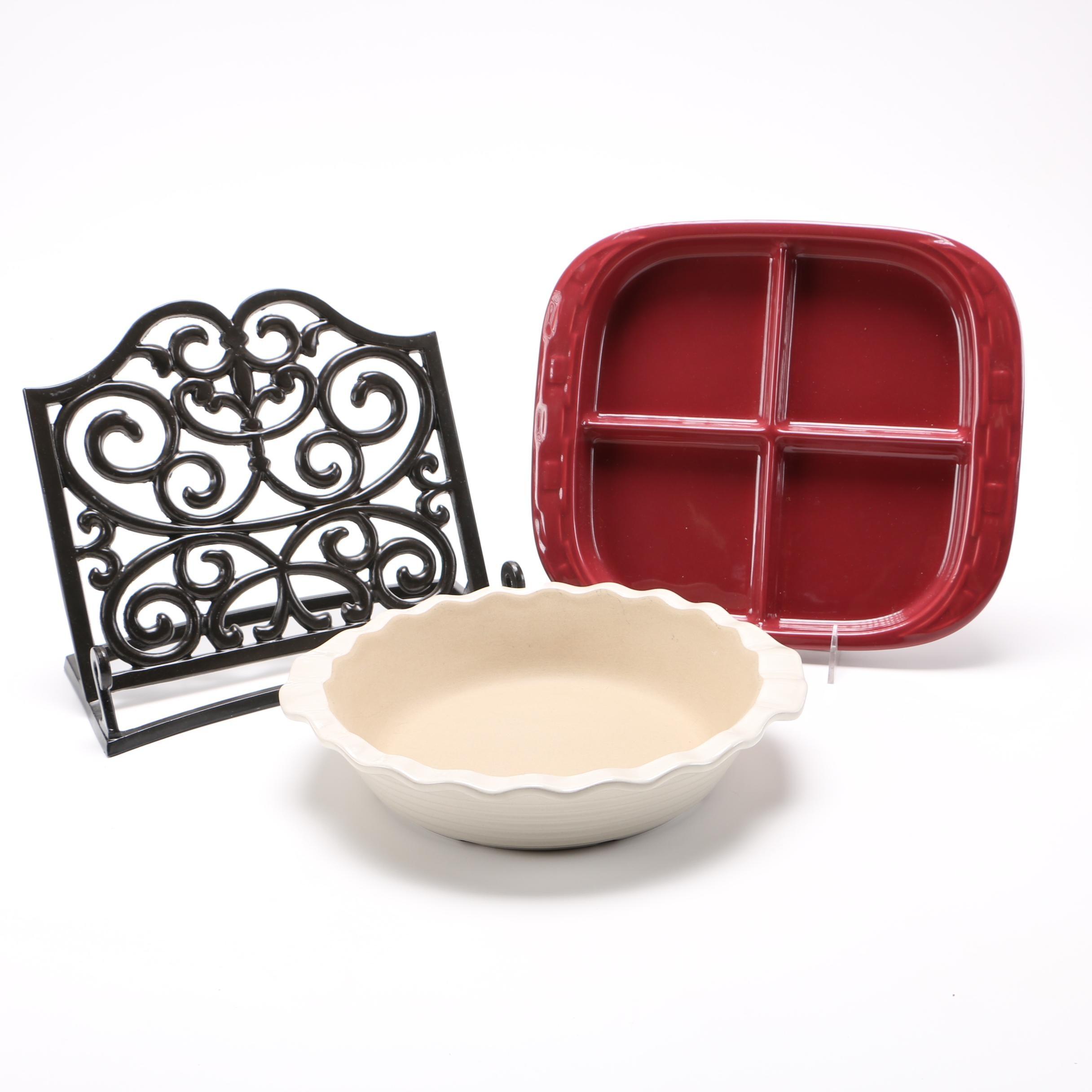 Metal Cookbook Holder and Assorted Cookware Including Longaberger