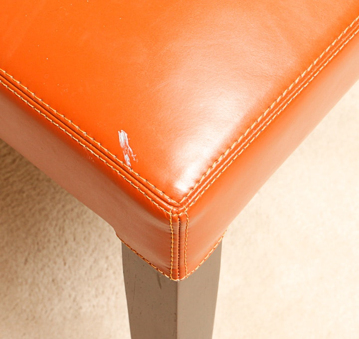 Orange Leather Grayson Chairs By Pottery Barn Ebth