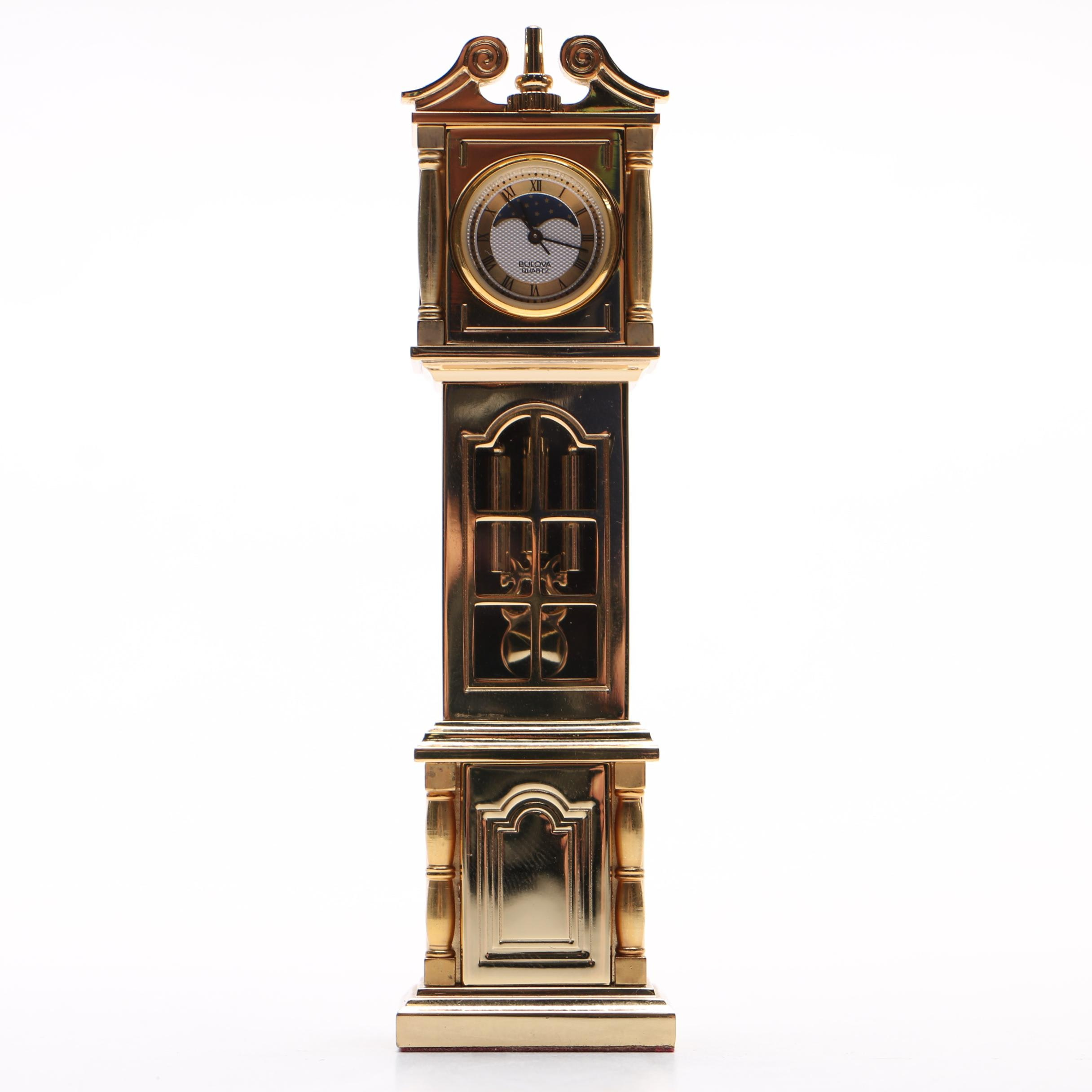 Bulova Brass Miniature Tall Case Clock