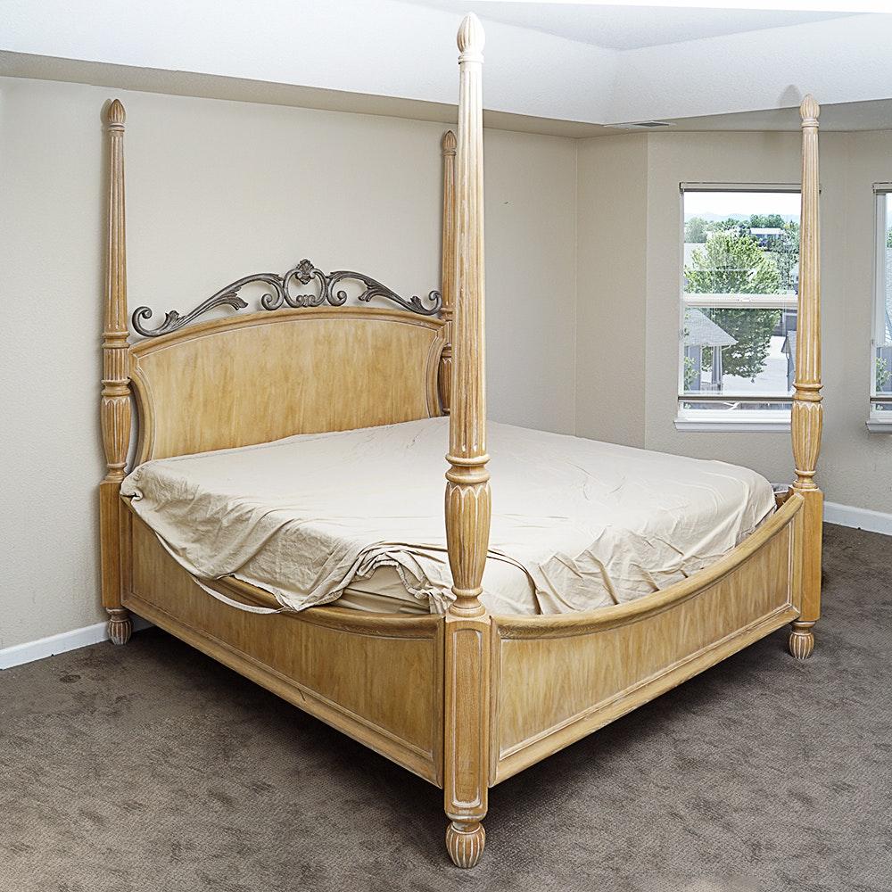 Henredon Neoclassical Inspired Four Poster King Bed Frame