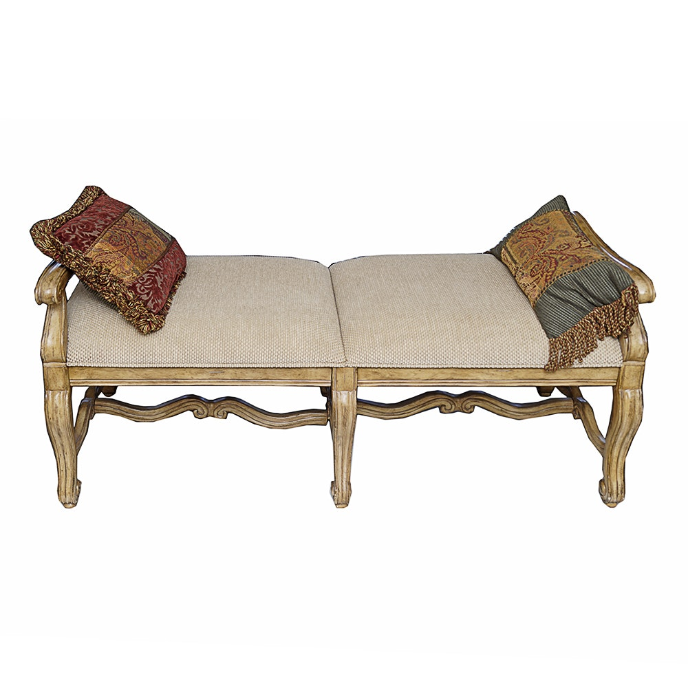 Contemporary Provincial Style Upholstered Bench by Bernhardt Furniture