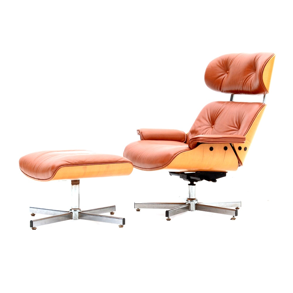 Eames Style Lounge Chair and Ottoman in Russet Leather