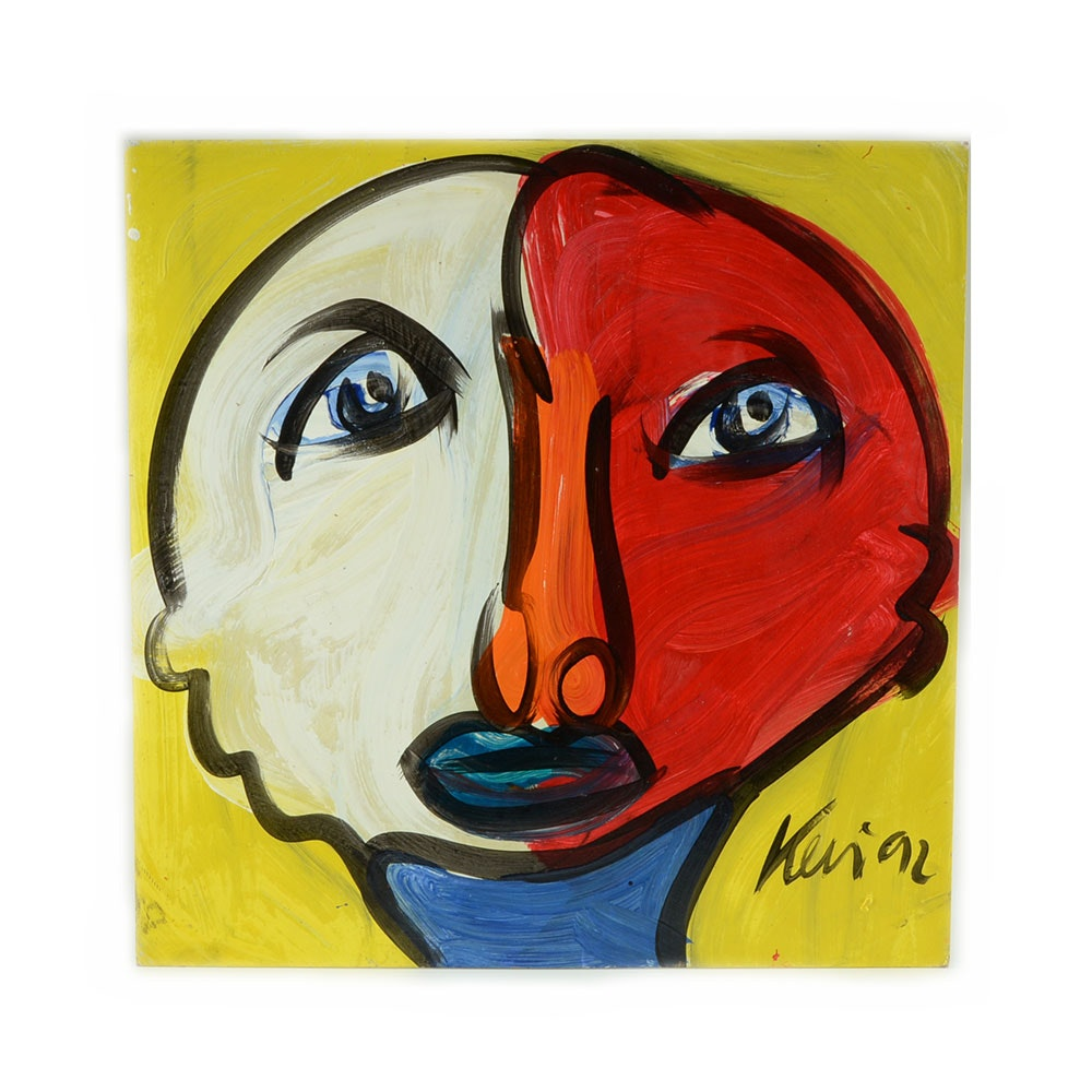 "Peter Keil Original 1992 Expressionist Oil on Board ""Boy from Atlanta"""