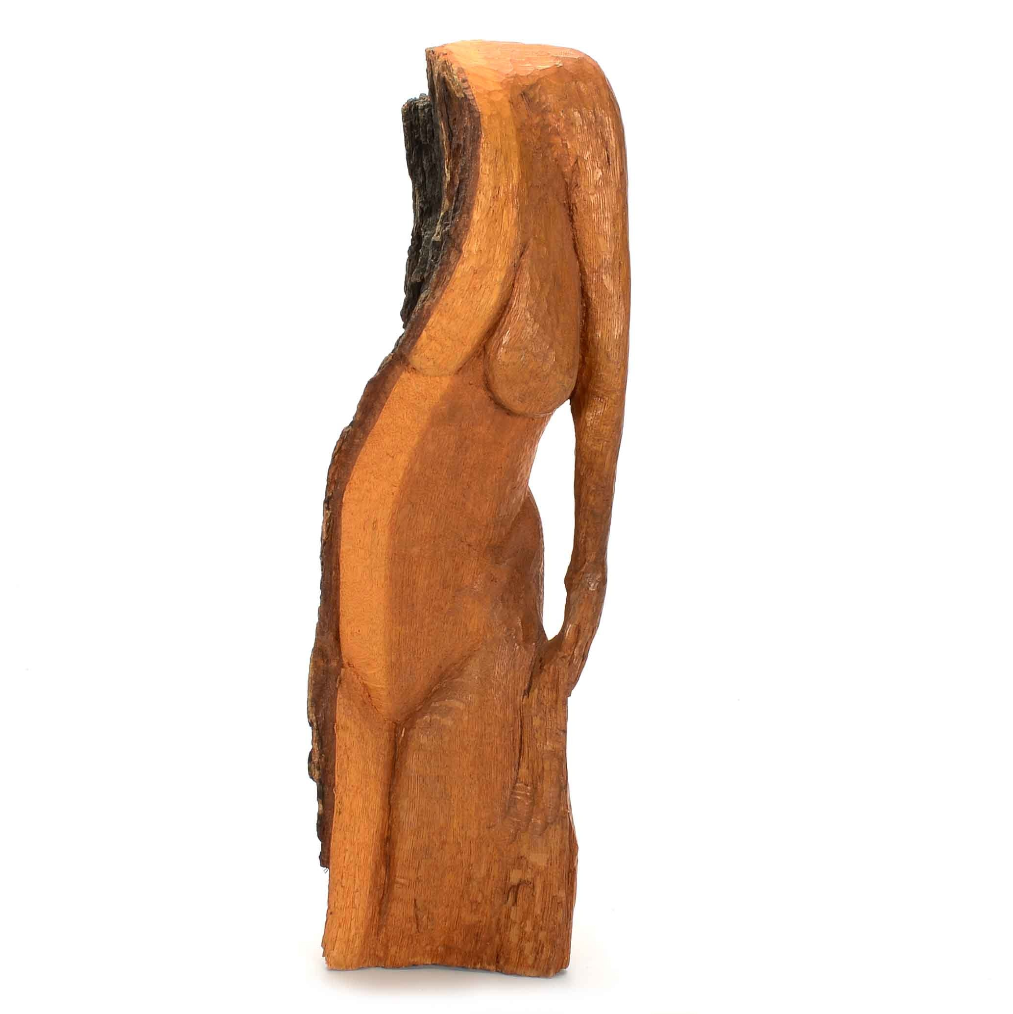 Dan Curtis 1960s Hand-Carved Salvaged Wood Figurative Sculpture