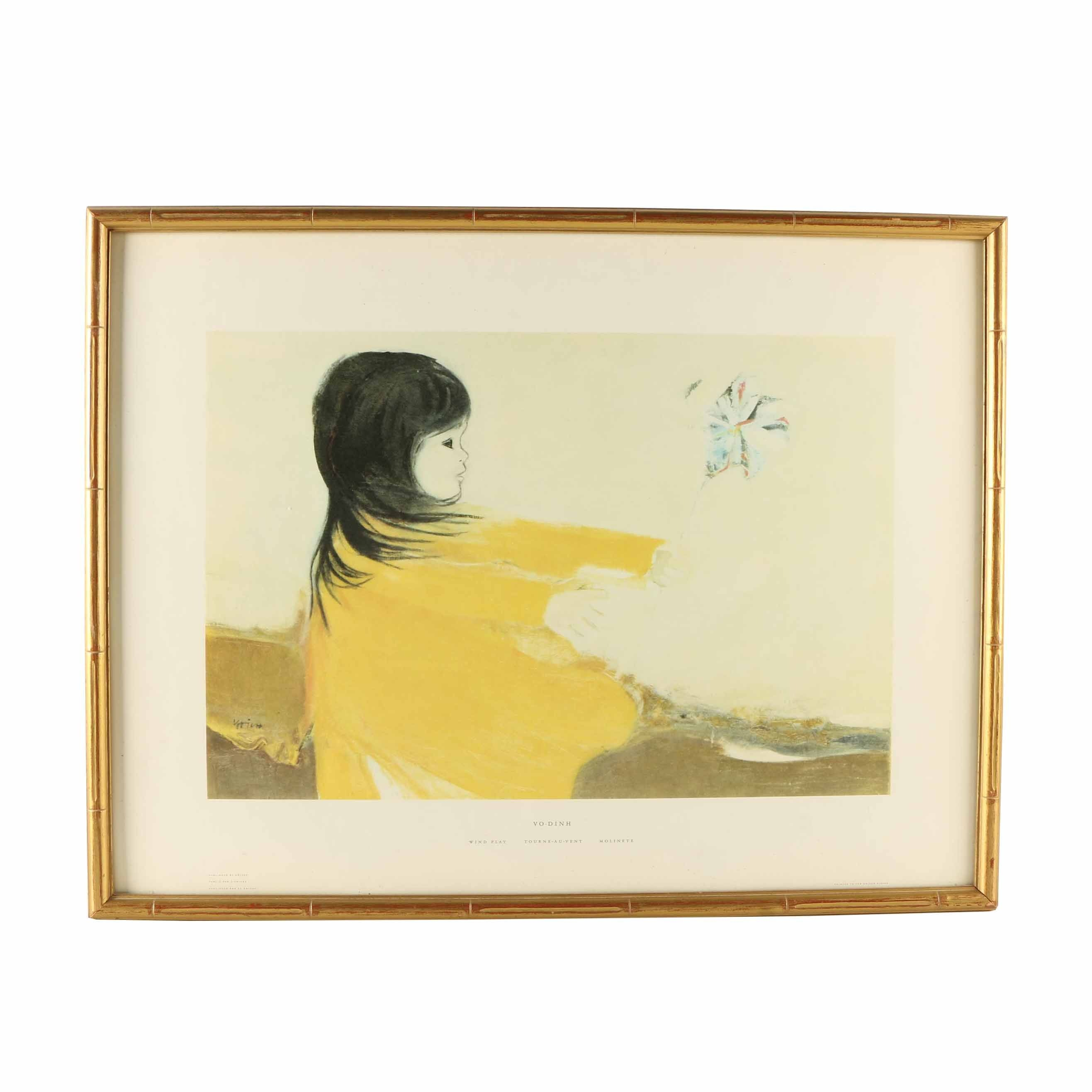 "Framed After Mai Vo-Dinh Offset Lithograph Poster ""Wind Play"""