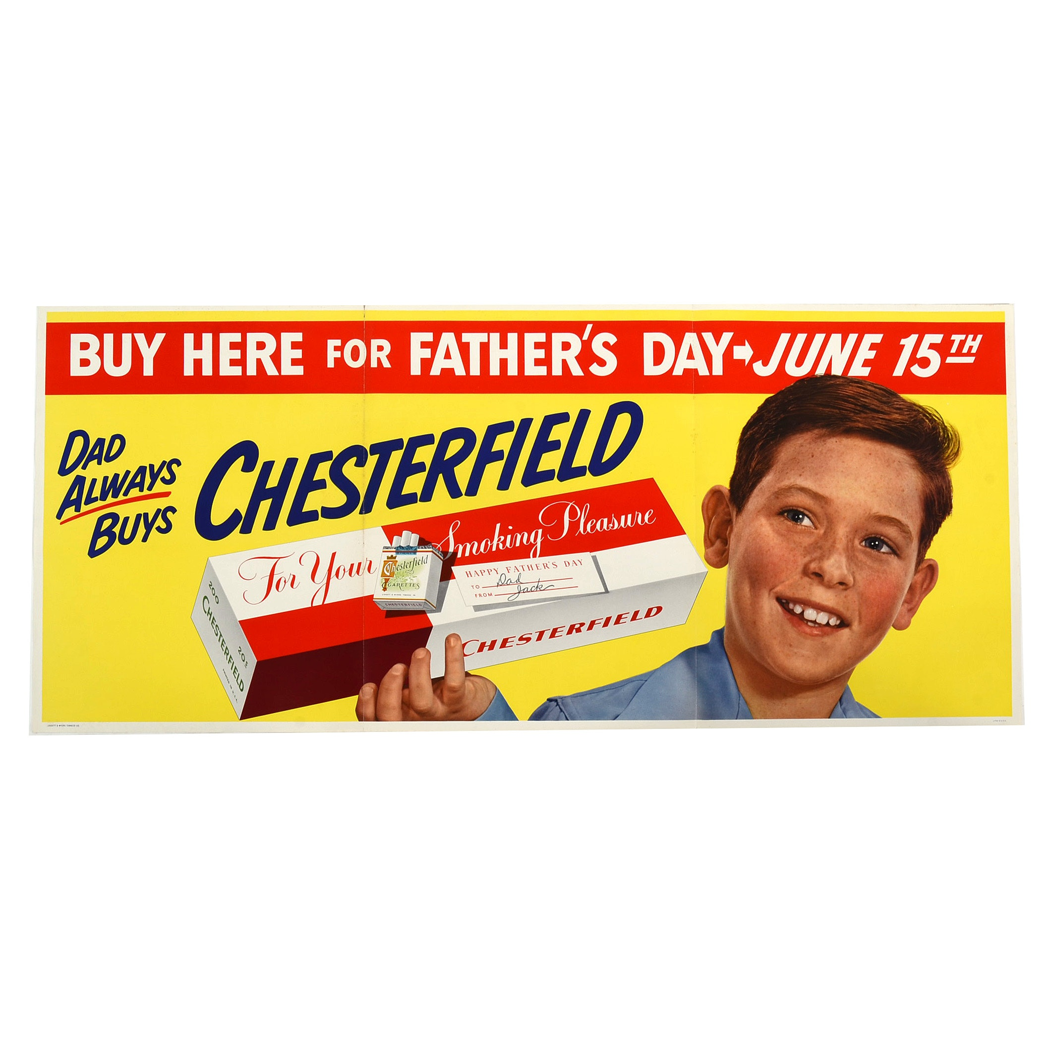 Original 1950s Chesterfield Cigarettes Poster Advertisement
