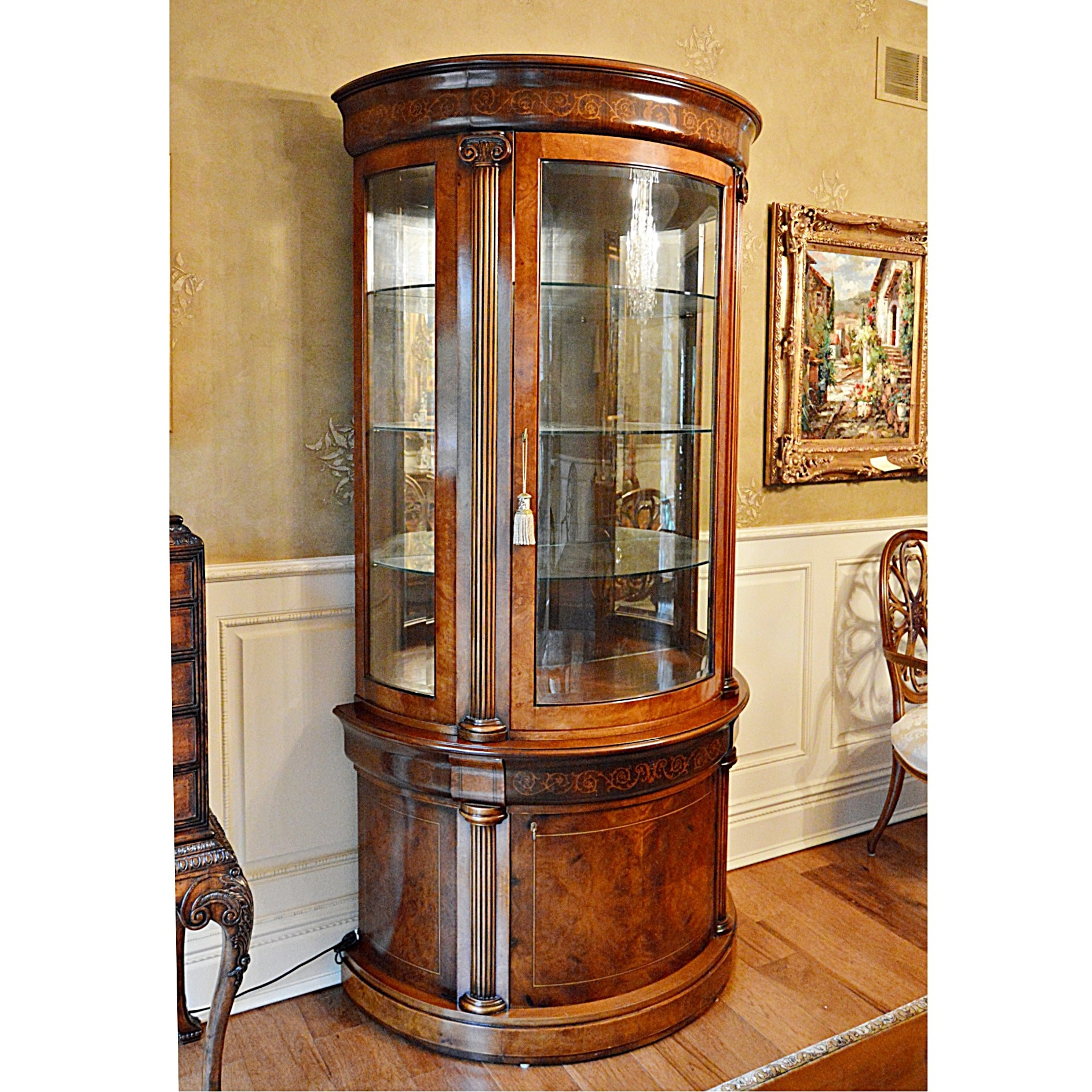 Fabulous Italian Inlaid Mahogany and Burl Wood Vitrine