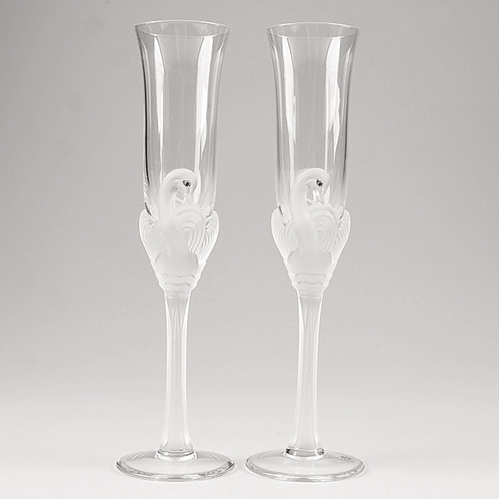 Jean Claude Frosted Swan Crystal Champagne Flutes