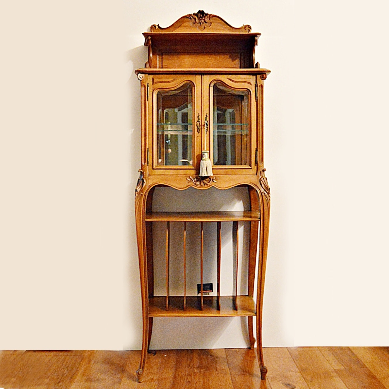 Antique Art Nouveau Vitrine in Cherry