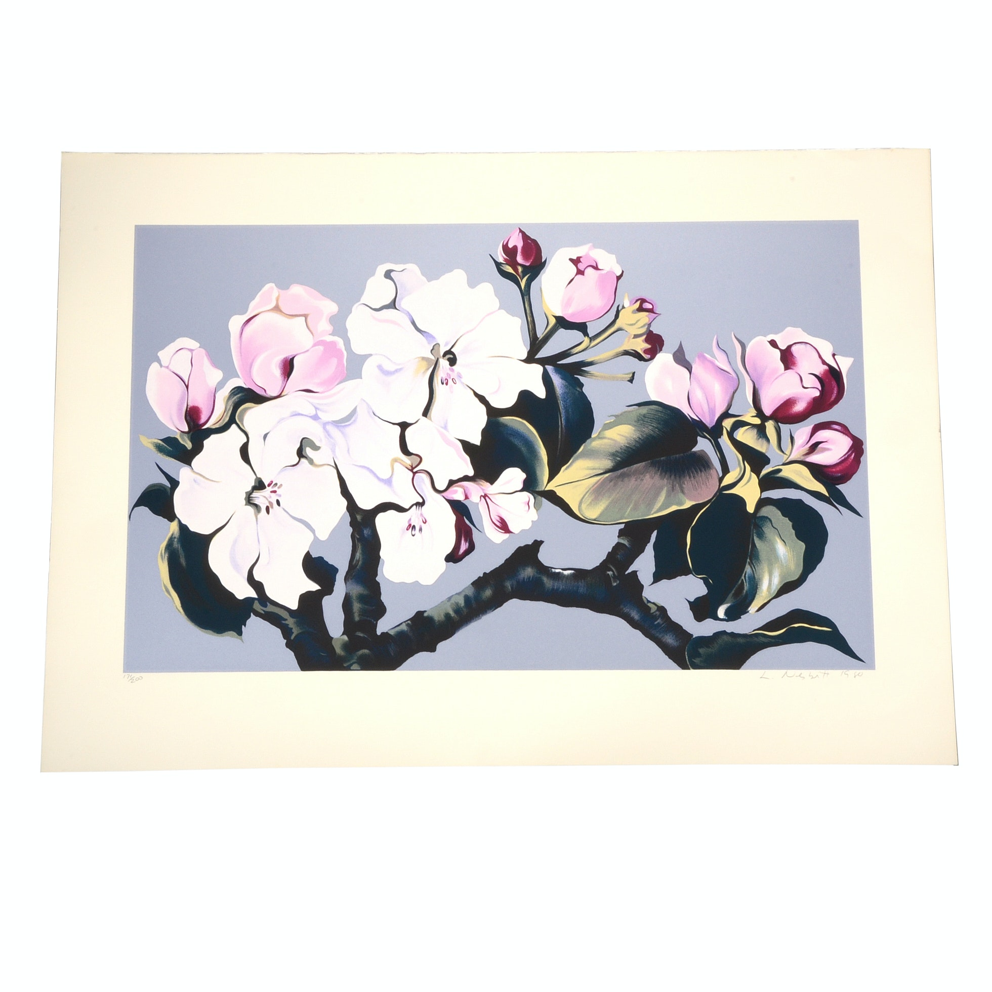 "Lowell Nesbitt 1980 Signed Limited Edition Serigraph ""Apple Blossom"""