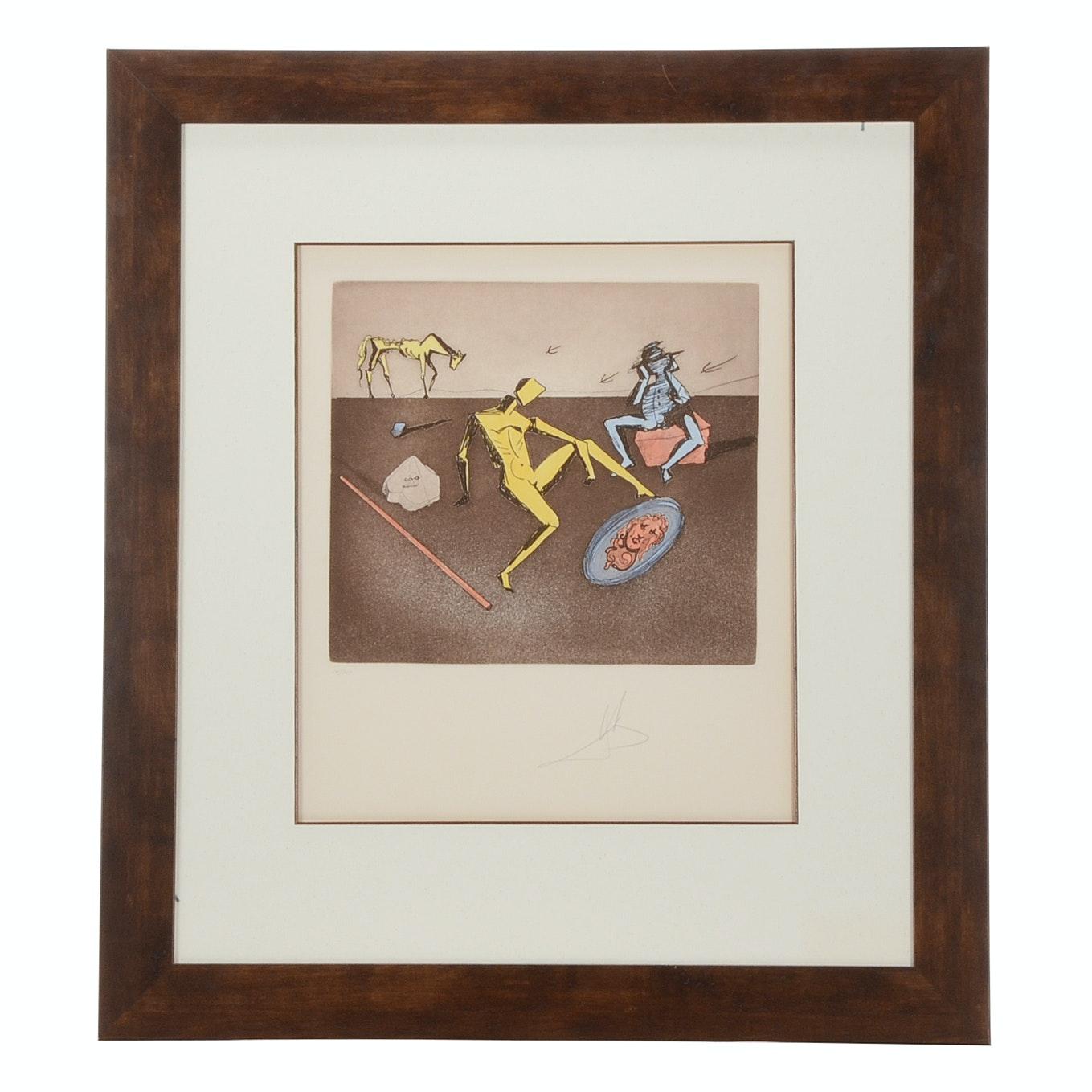 "Salvador Dalí Original Aquatint Etching ""The Mirror of Chivalry"""