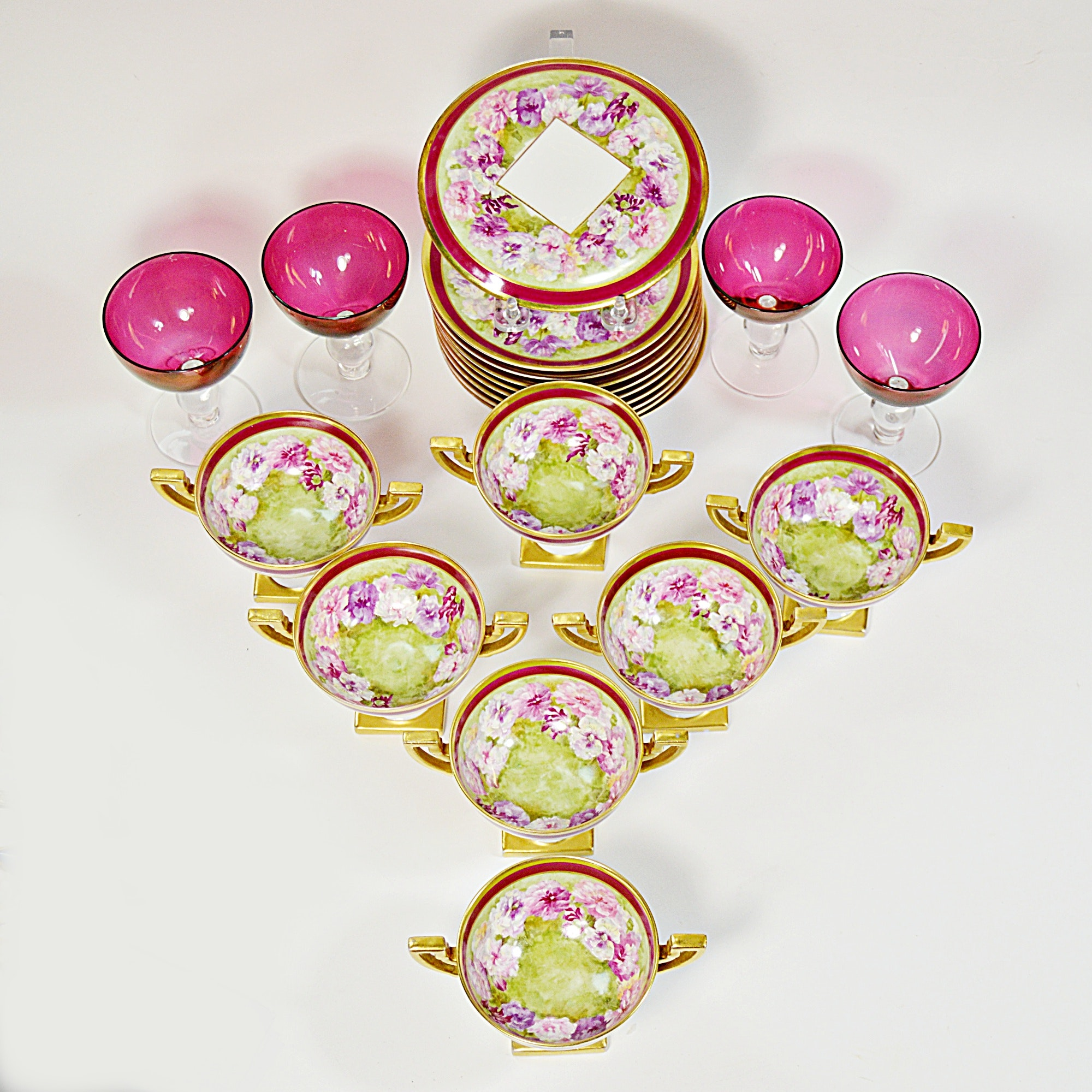 Antique J. Pouyat Limoges Porcelain Teaset and Ruby Glass Goblets