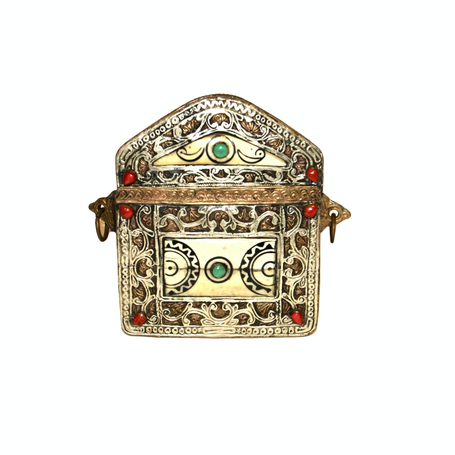 Antique Moroccan Metal Jeweled Quran Holder/Purse