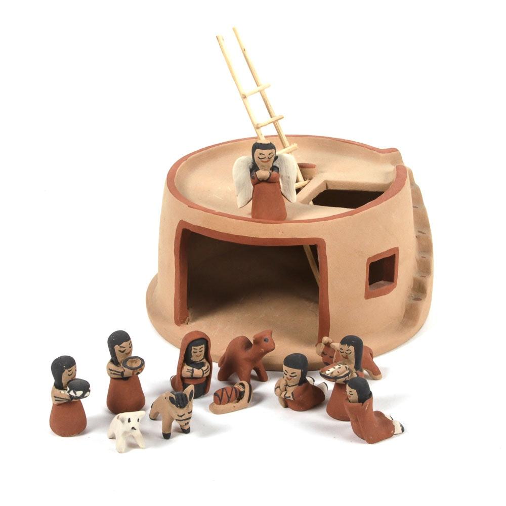 Signed Native American Pottery Nativity Scene