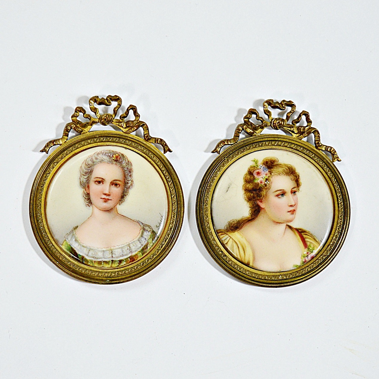 Pair of Antique Hand Painted Signed Portraits on Porcelain