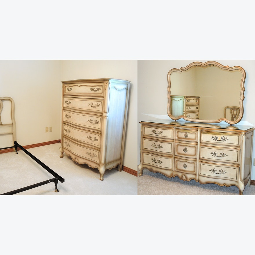 French Provincial Style Bedroom Set By Bassett Furniture Ebth