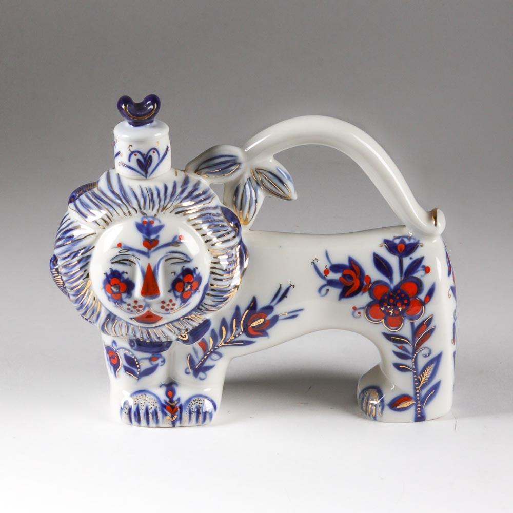 Vintage Lomonosov Porcelain Lion Decanter