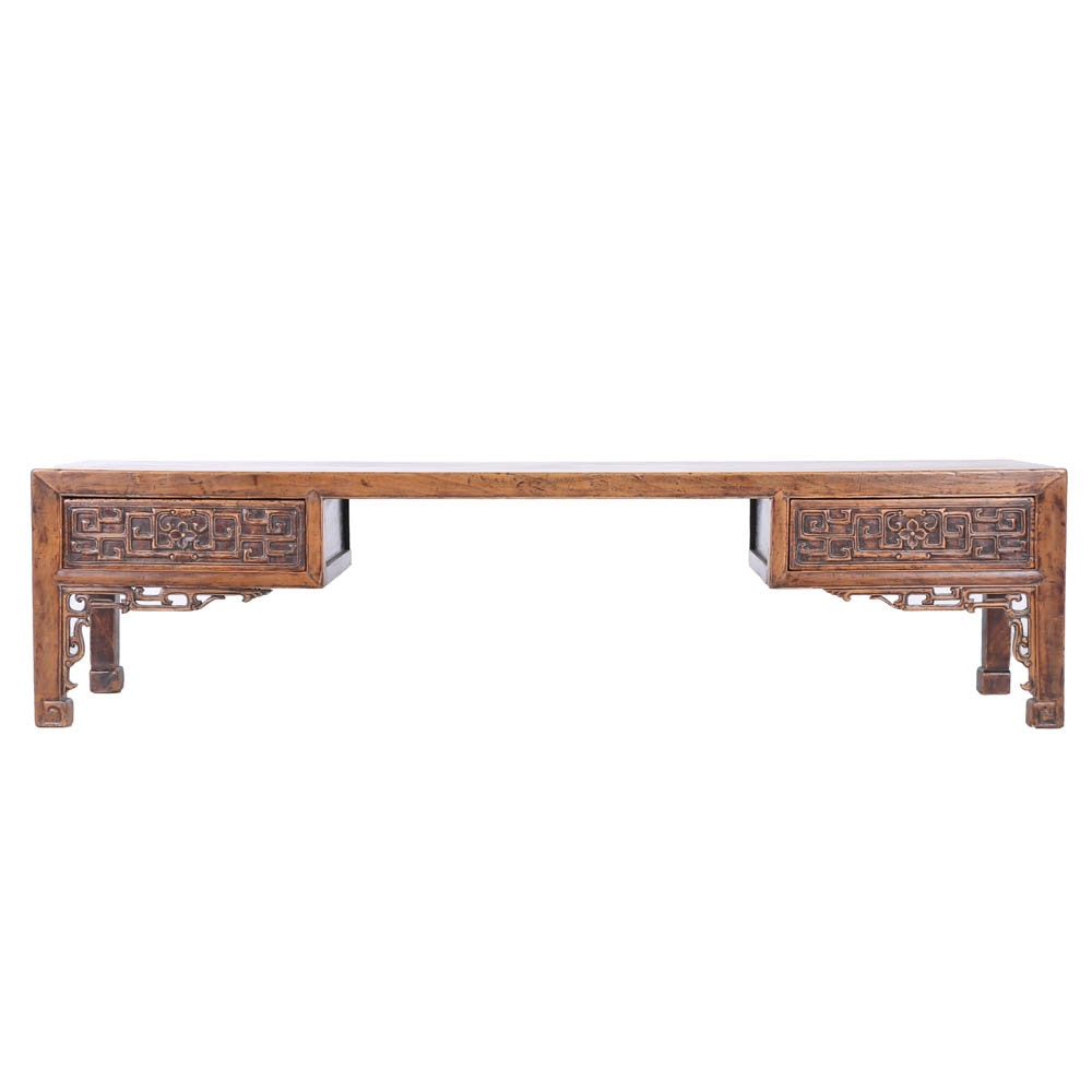 Antique Chinese Bench in Elm with Carved Apron
