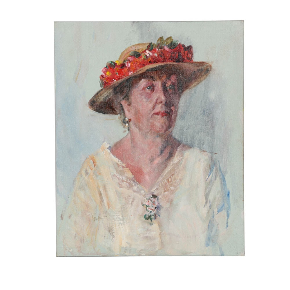 Original Wesley Kime Portrait of a Woman with Red Floral Hat
