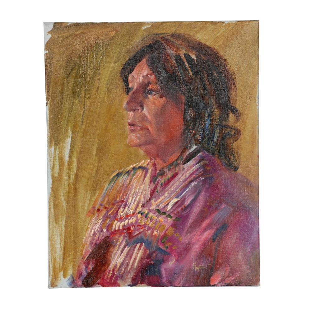 Original Wesley Kime Portrait of a Woman