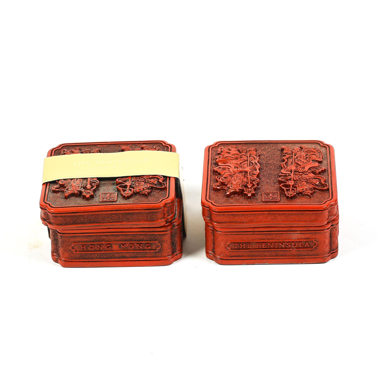 Pair of Souvenir Cinnabar-Style Trinket Boxes