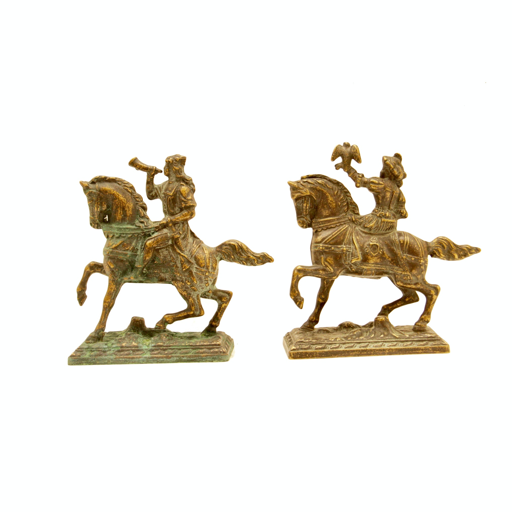 Pair of Bronze Renaissance Horsemen Bookends