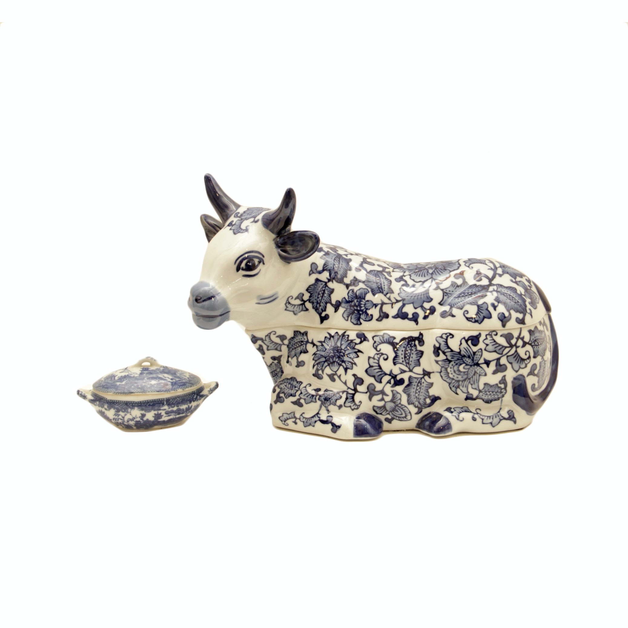Blue and White Cow Cookie Jar and Small Trinket Box