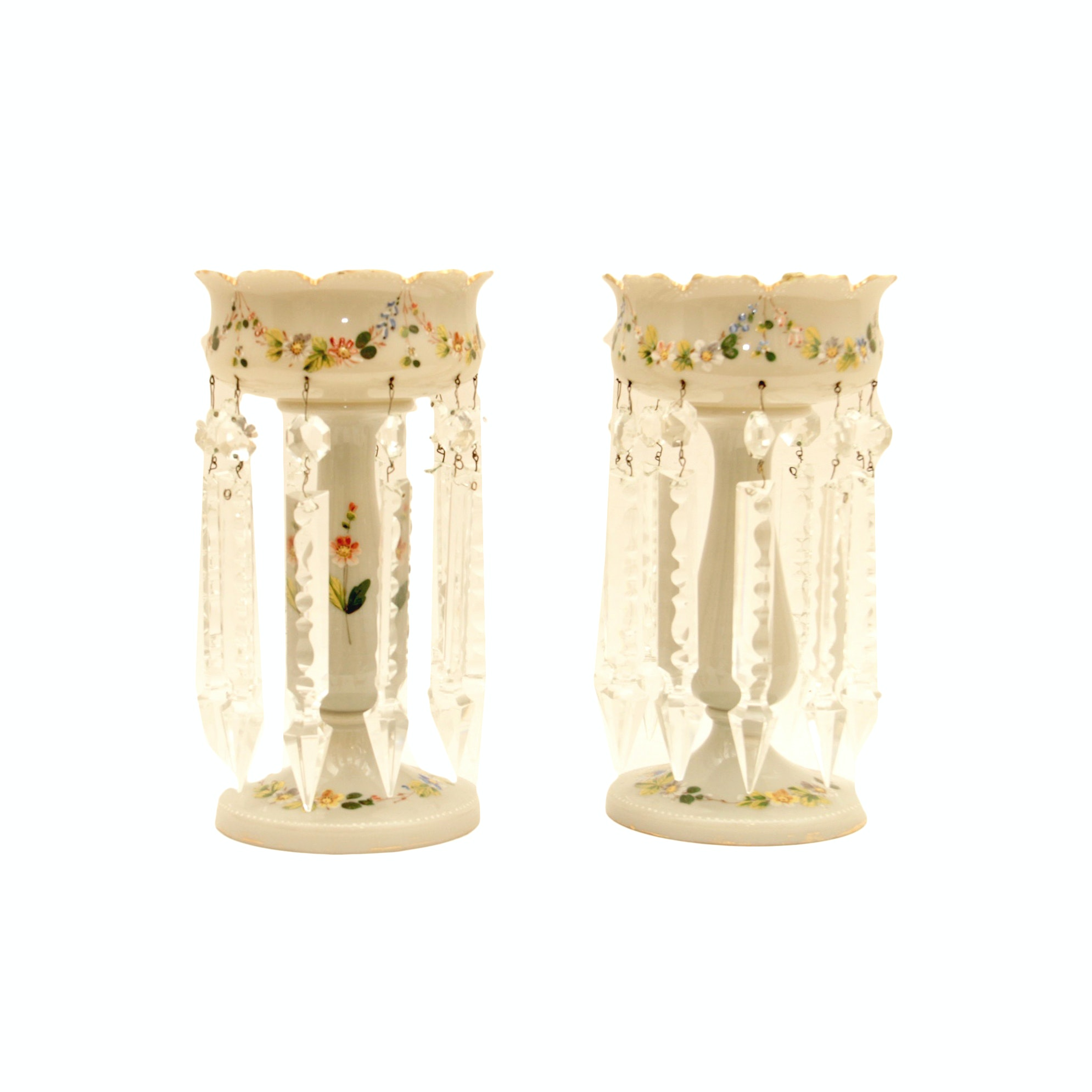 Pair of Vintage Hand Painted Glass Mantel Lusters