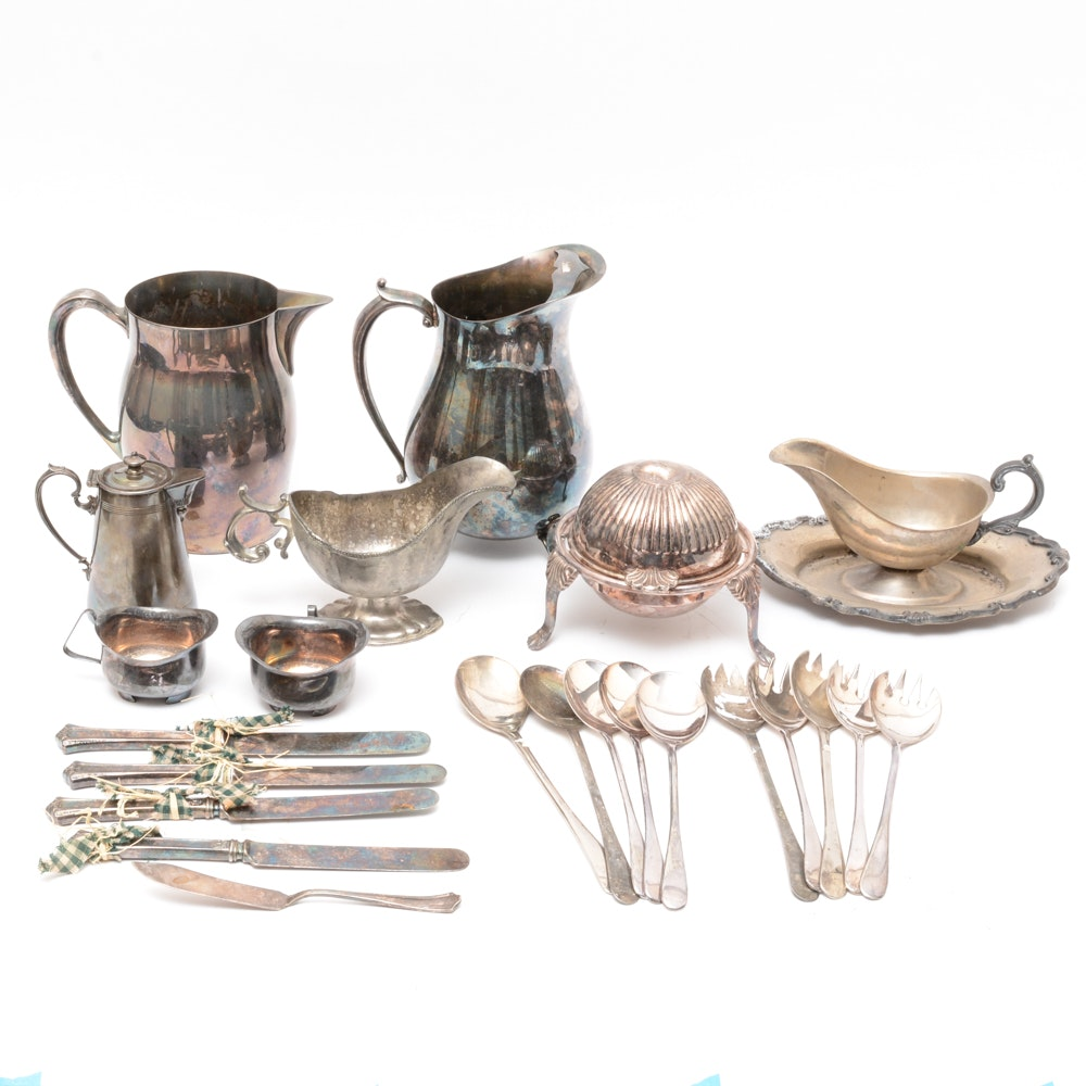 Plated Silver Tableware Including Flatware, Pitchers and More