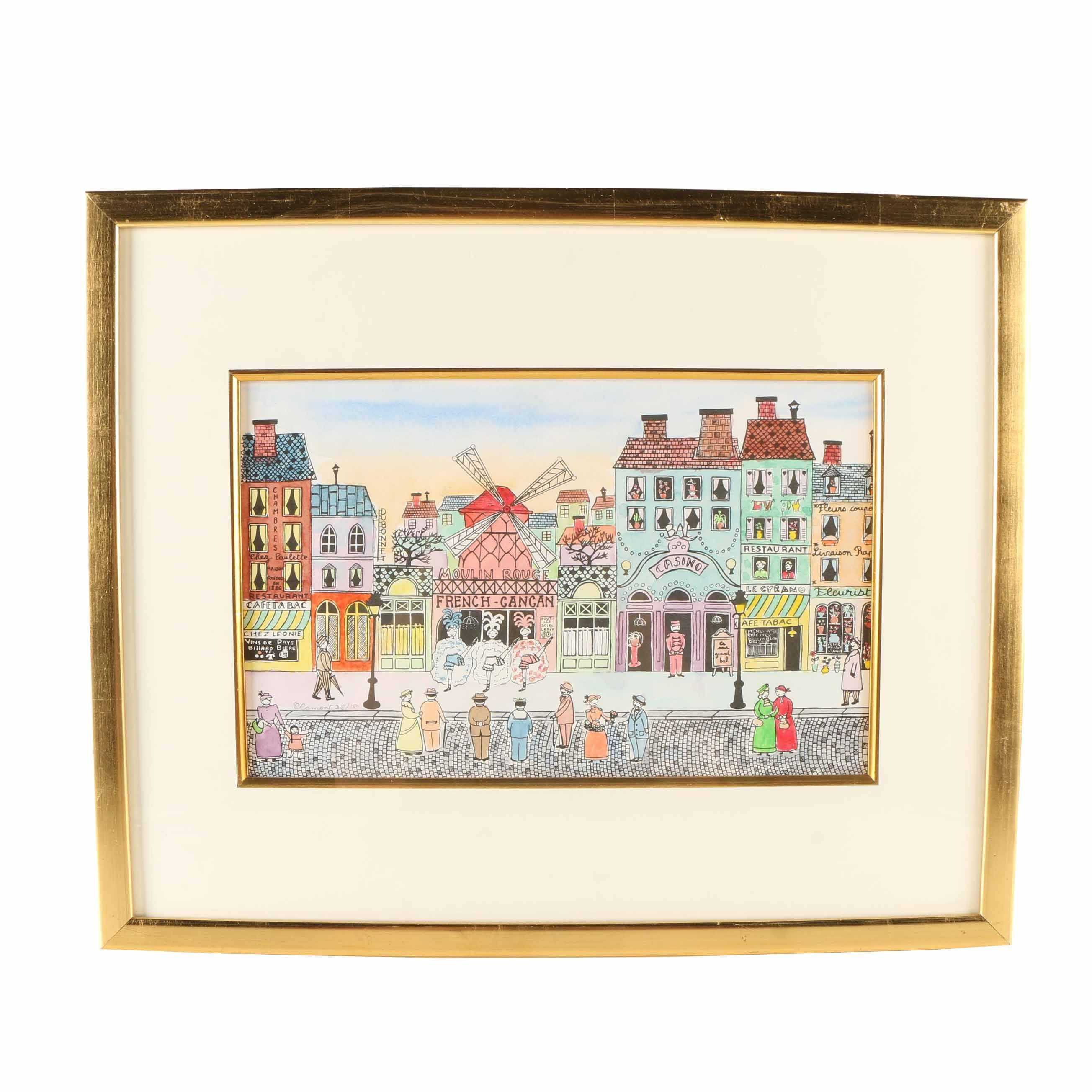 Framed Clement Limited Edition Hand Colored Lithograph of Parisian Cityscape