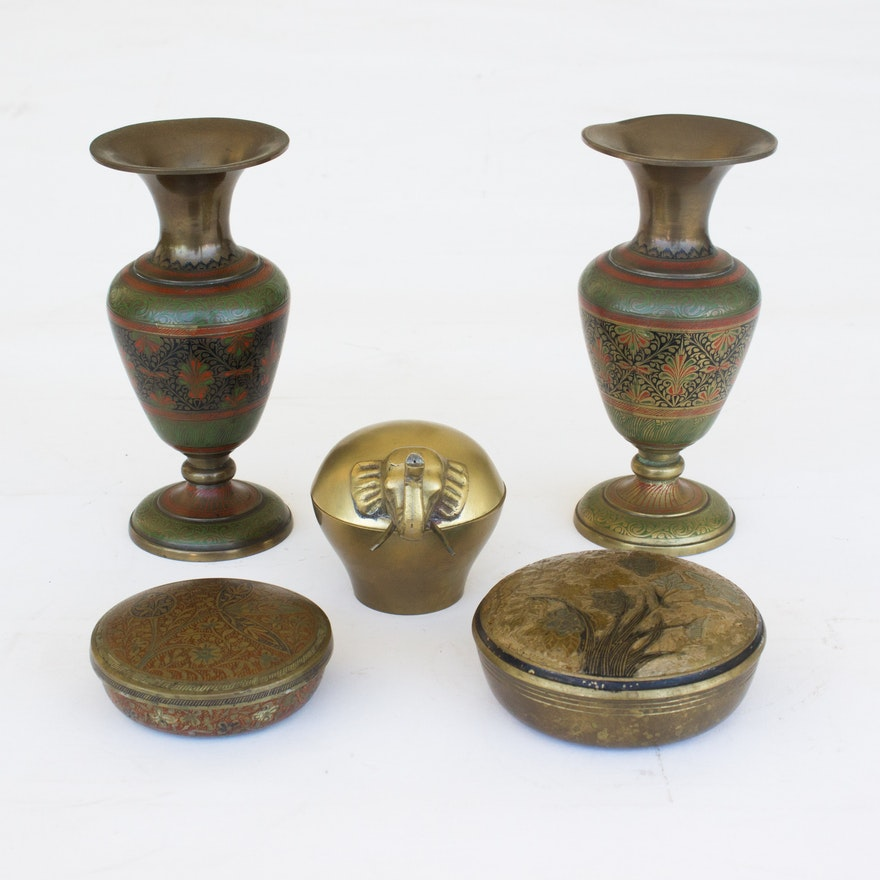 Indian Brass Vases And Trinket Jars Ebth
