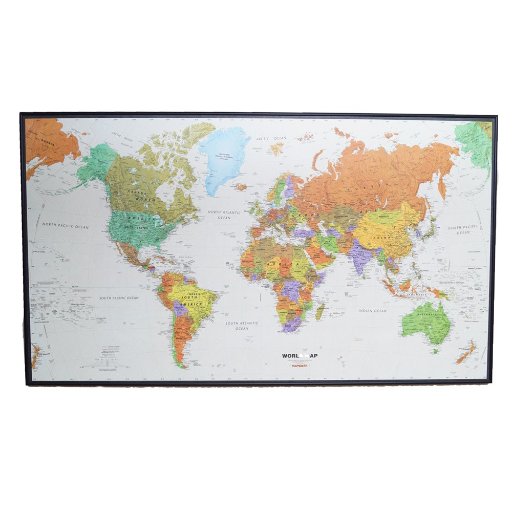 Large Framed World Map Ebth