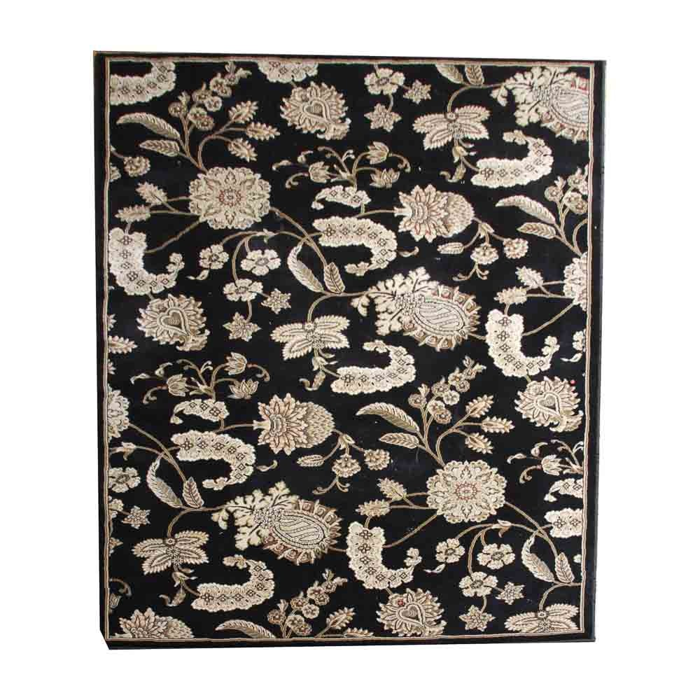 Machine Woven Black Floral Area Rug
